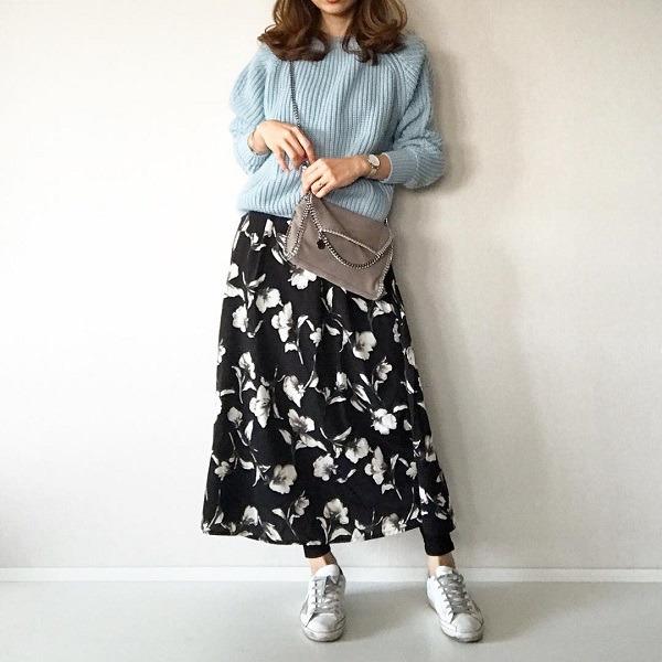 【オトナ女子必見】大判花柄スカート履きたいけど、学生コーデにはなりたくない!マネしたい春コーデ3選